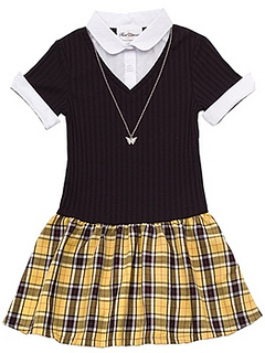 Girls 7-16 Knit Bodice Plaid Dress