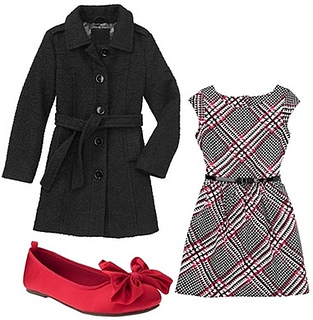 houndstooth dress and black coat