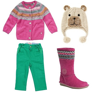 Bright Print Cardigan Winter Outfit for Toddler Girls