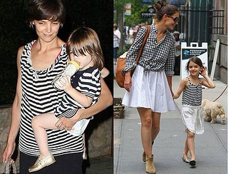 Katie Holmes and Suri Cruise in Matching Stripes Outfits