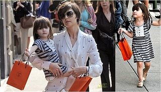 Suri Cruise Wears Stripes Dress