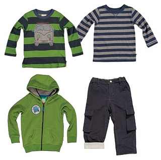 Stripe Tops with Roll Up Pants for Boys