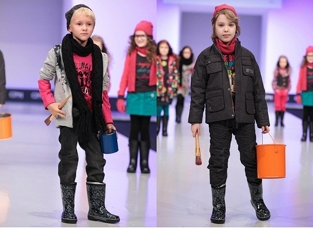 winter fashion for boys - jacket and rainboots