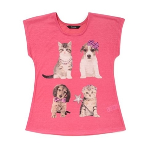Cat and Dog Print Top for Girls