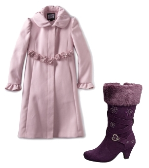 Pink Dress Coat with Rosettes