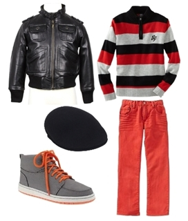 leather jacket and colored jeans for boys