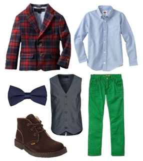 plaid jacket and colored jeans for boys