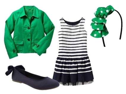 striped tulle dress with green jacket for girls