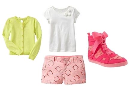 Circular eyelet shorts for girls