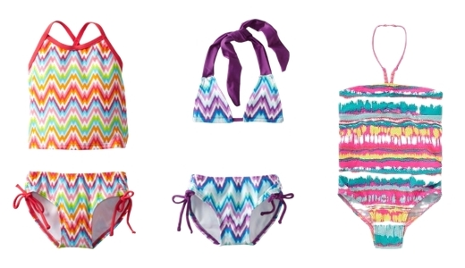 Ikat print swimsuits for kids