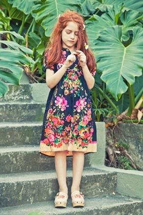 fashion for kids dark floral dress