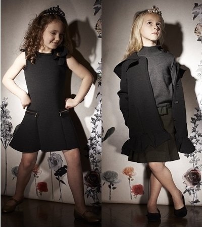 Lanvin Petite Winter 2013 black dress and coat for girls