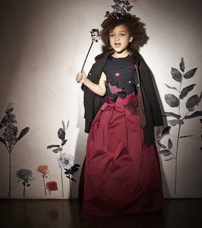 Lanvin satin skirt for girls