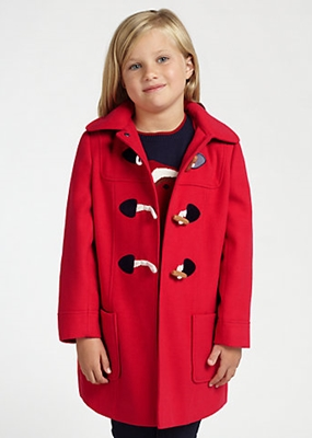John Lewis Girl Hooded Duffle Coat Red
