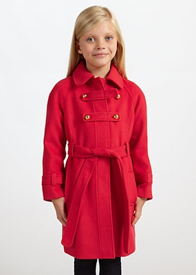 John Lewis Girl Military Style Coat Red