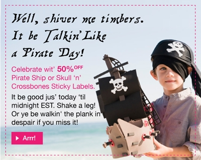 50% off Pirate Ship and Skull 'n' Crossbones Sticky Labels
