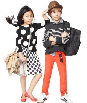 wear polka dot sweater and skirt girls