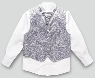 Boys dark purple floral waistcoat cravat tie and shirt set