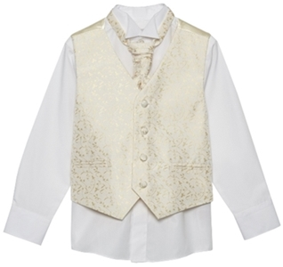 Boys gold waistcoat, shirt and cravat set