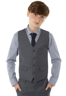 Boys grey stab stitch four button waistcoat