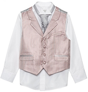 Boys silver striped waistcoat cravat tie and shirt set