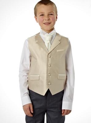 Boys taupe striped waistcoat set