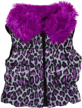 Betsey Johnson Girls' Cat's Cradle Satin Puffer Vest with Faux Fur