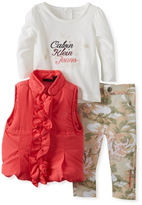 Calvin Klein Baby-Girls Infant Vest With Tee And Printed Pant