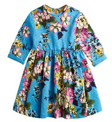 Girls Long Sleeve Printed Jersey Dress