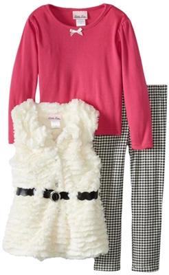 Little Lass Girls 2-6X 3 Piece Belted Wavy Faux Fur Vest Set 1