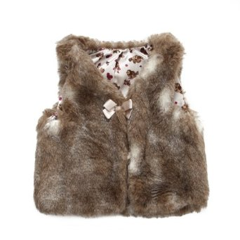 Richie House Girl's Faux Fur Vest with Bow
