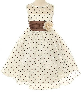 Kids Dream Ivory Brown Organza Dot Flower Girl Easter Dress 2T-12