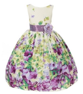 Kids Dream Lavender Flower Print Sash Easter Dress Little Girls 2T-12
