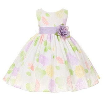 Kids Dream Lavender Sash Flower Pattern Easter Dress Little Girl 2T-12
