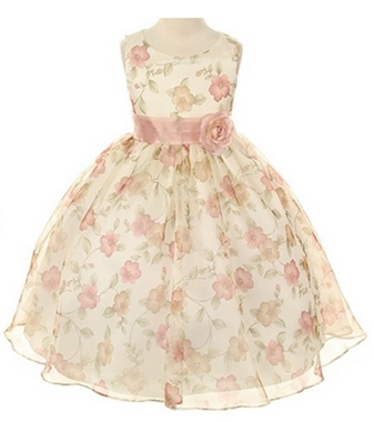 Kids Dream Vintage Rose Organza Floral Easter Dress Little Girls 2T-12