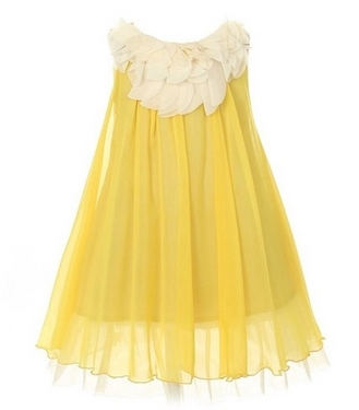 Kids Dream Yellow Chiffon Floral Lace Bodice Easter Dress Girls 2T-14