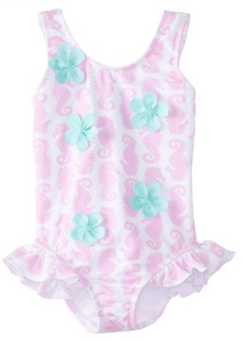 Flap Happy Baby-Girls Infant Allover Gross Grain Flower Swimsuit