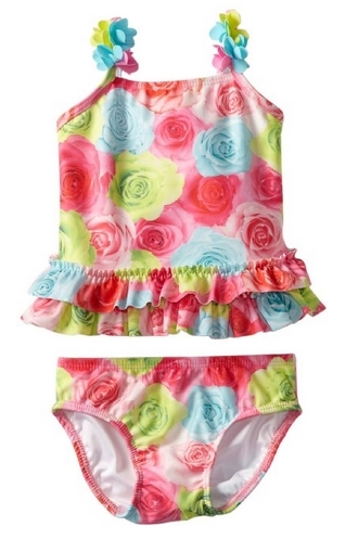 Kate Mack Baby-Girls Infant Hula Flowers Swim Print 2 Piece