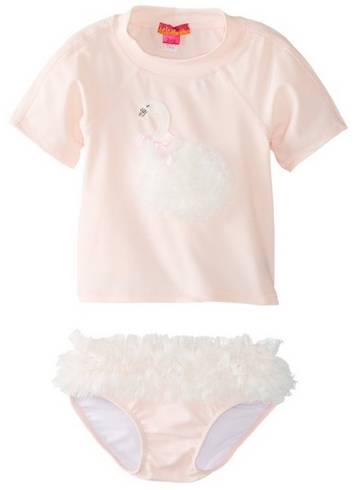 Kate Mack Baby-Girls Swan Lake Infant Swim Surf Shirt and Bottom