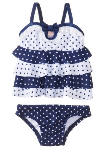 Nannette Baby-Girls Newborn 2 Pieced Ruffle Swimsuit