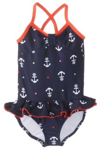 Nautica Baby-Girls Infant Anchor Print One Piece Swimsuit