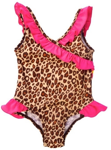 Pink Platinum Baby-Girls Brown Leopard Print One Piece Swimsuit