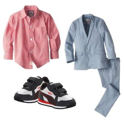 boys dress clothes check shirt and chambray suit pants