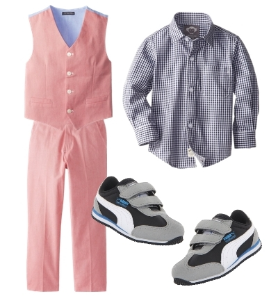 boys dress clothes check shirt and chambray vest