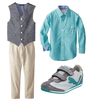 boys dress clothes colorblock shirt and vest