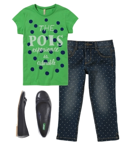 styles for girls dot jeans color block
