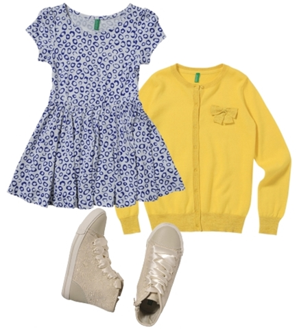 styles for girls print dress and yellow cardigan color block
