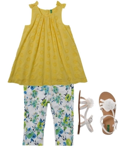 styles for girls sleeveless dress and print trousers color block