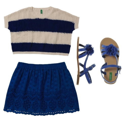 styles for girls stripe tee and blue skirt color block
