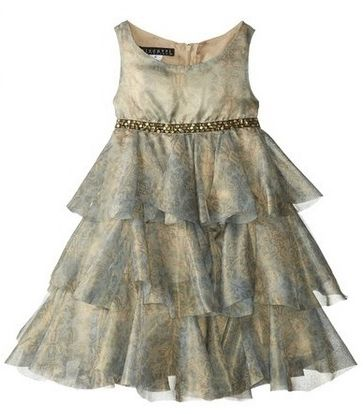 Biscotti Little Girls Gilded Dove Dress with Tiers